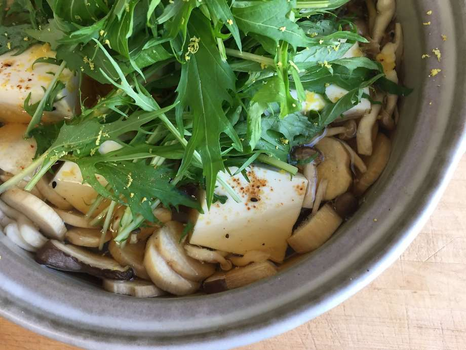 Donabe Recipes - Sun-Dried Mushroom & Tofu Hot Pot