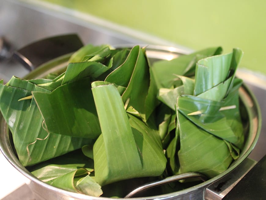 Best Balinese Cooking Class in Seminyak Bali - banana leaf 1