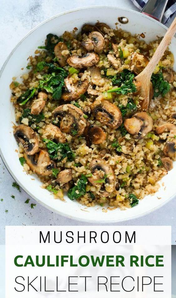 Mushroom Cauliflower Rice Skillet