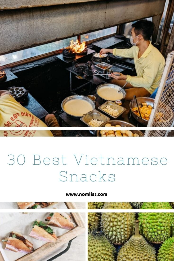 Looking for the best Vietnamese snacks to chow? Whether you're planning a trip to Vietnam or just need to satisfy a craving, here's the list for you! #vietnamese #vietnam #vietnamesesnacks #snacks #asianfood #asia #asiansnacks #snackrecipes