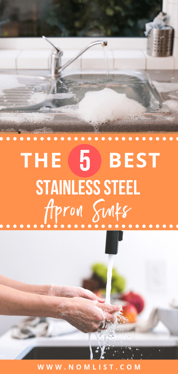 We have the 5 best stainless steel apron sinks for you! Also known as a farmers sink, it is much deeper and wider than your ordinary sink basin. Perfect for big families, people who don't use or have a dishwasher, and those that love a modern style kitchen. #sink #stainlesssteel #kitchensink #sinks #kitchenappliances #remodel #kitchenremodel #remodeling #apronsink