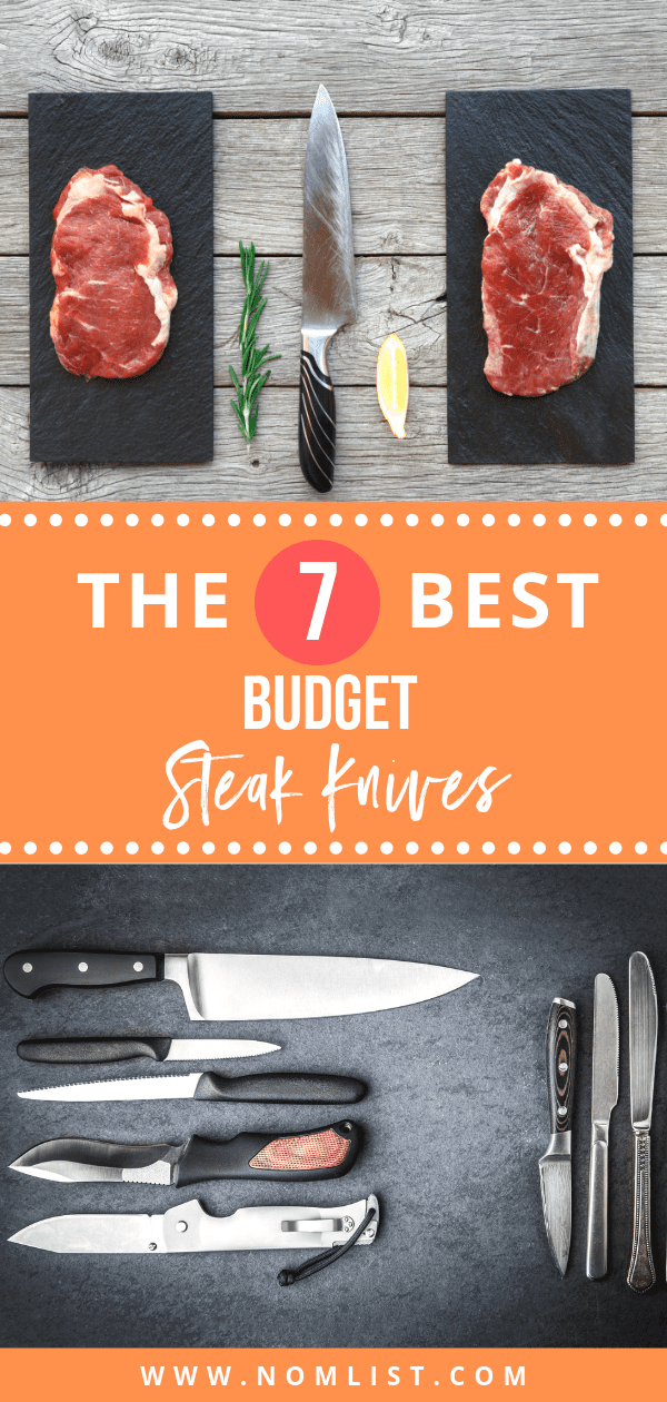 Get the quality of restaurant steak knives with a price that's just right for you! Below, we have the best 7 steak knives sets for you - with options for different colors and designs! #steakknives #knives #knife #steakknife #steak #meat #kitchentools #kitchenware #kitchenutensils