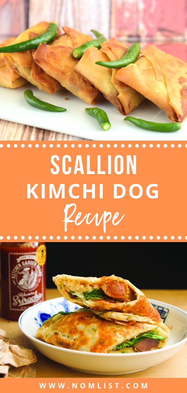 The scallion pancake encircles the hot dog like a warm flaky hug in this delicious Kimchi Dog recipe!  #scallion #scallionpancake #kimchi #koreanfood #koreanfusion #fusionrecipes #hotdog #hotdogrecipes #koreanrecipes