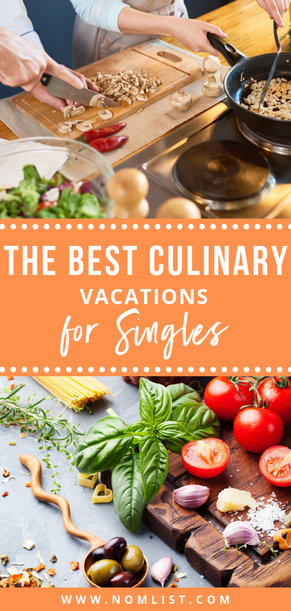 If you're looking to book your next food adventure overseas, you MUST check out these best culinary vacations for singles. #culinaryvacation #vacation #cookingvacation #travelfood #foodvacation #culinarytravel #travel