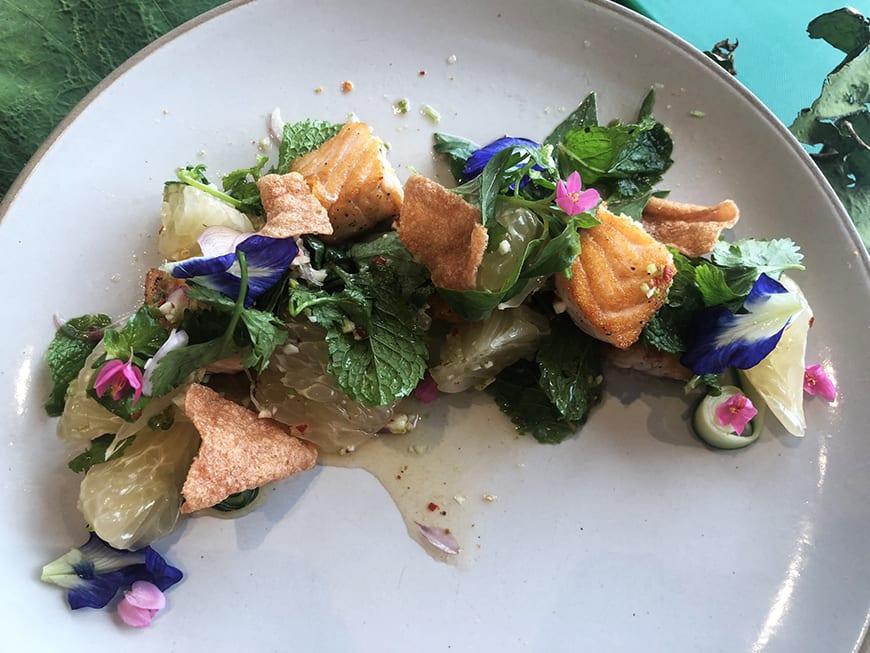 Yum Pla Salmon Thai Salad - 1 Plated -Banyan Tree Bangkok Cooking Class