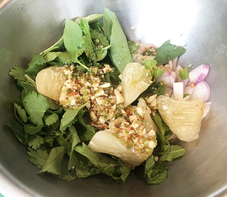 Yum Pla Salmon Thai Salad - Banyan Tree Bangkok Cooking Class 1