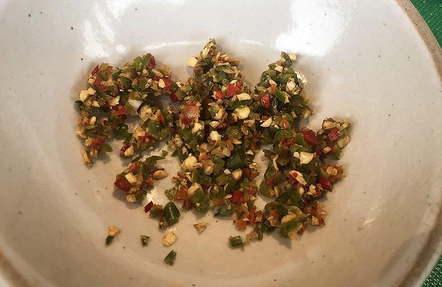 Yum Pla Salmon Thai Salad - Bids Eye chili -Banyan Tree Bangkok Cooking Class