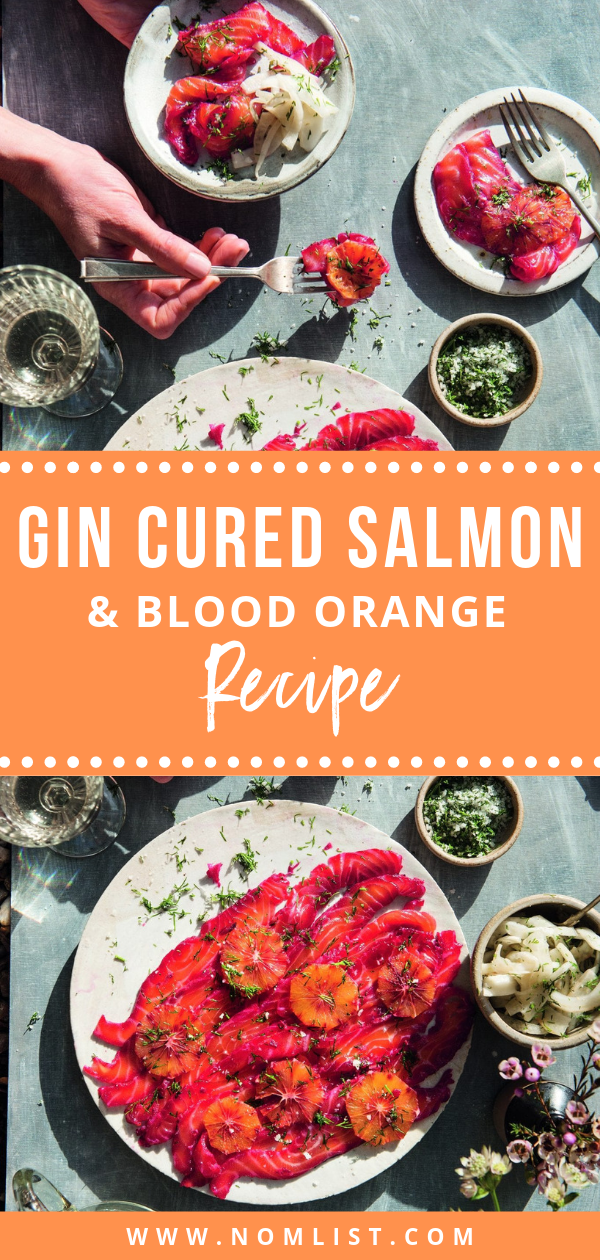 The colors are simply dazzling on the plate for this recipe for Gin-Cured Salmon and Blood Orange Recipe #salmon #recipe #gin #bloodorange #orange #salmonrecipe #fishrecipes #orange #orangesalmon #citrus #ginrecipes