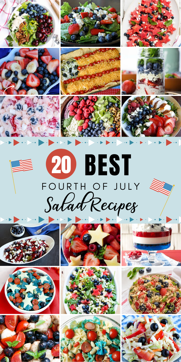 Fourth of July is great for the fireworks, but I'm personally a bigger fan of the food! Whether you're throwing your own party or bringing an item to a potluck, here are our favorite Fourth of July Salads to impressive your friends and family! #fourthofjuly #holiday #salad #saladrecipes #4thofjuly #america #recipes #saladrecipes