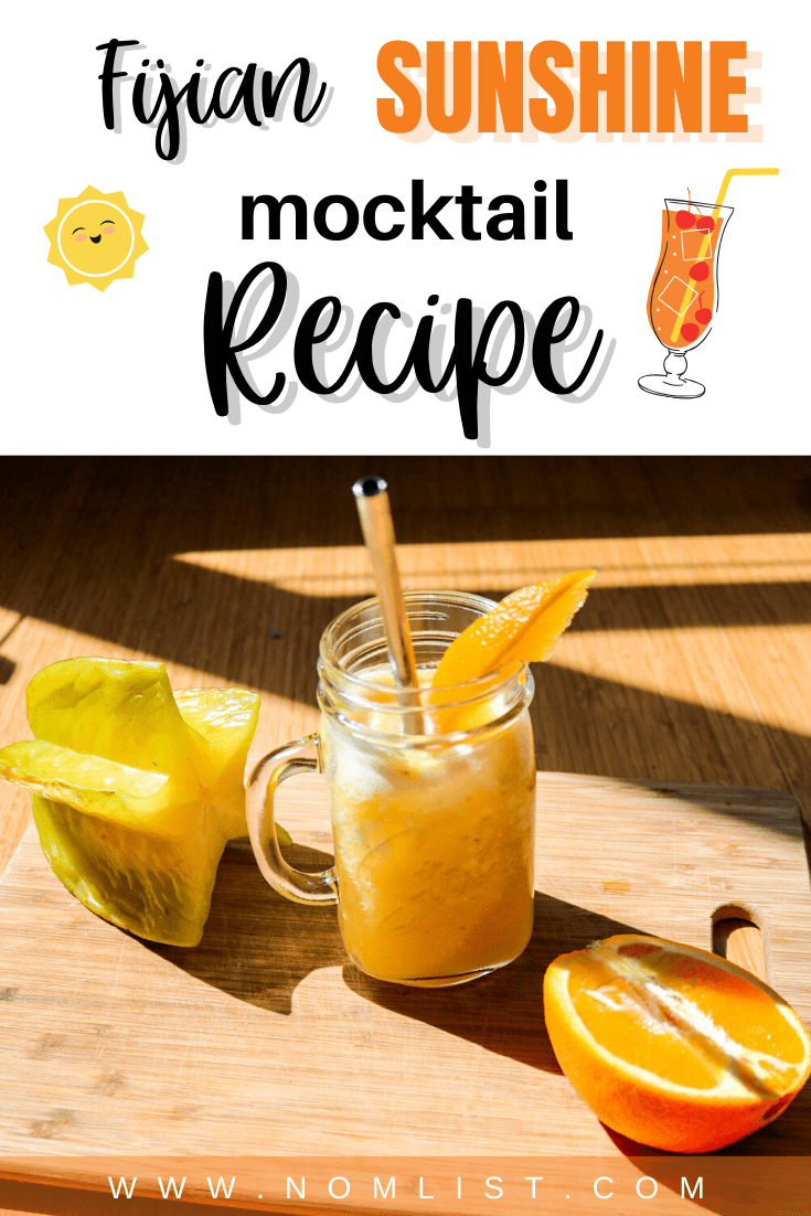If you're looking for a delicious way to cool down this summer without the hangover, you're in for a treat. This tantalizing Fijian Sunshine Mocktail Recipe is the perfect way to chill out with flavor this summer.  Not only is it super tasty and hydrating, it's also easy to make and only requires a handful of delicious ingredients which you can find at your local grocery store. Also, feel free to mix and match for even more flavorful fun. #mocktail #summer #sunshine #smoothie #recipes #fijiandrink #drinkrecipes