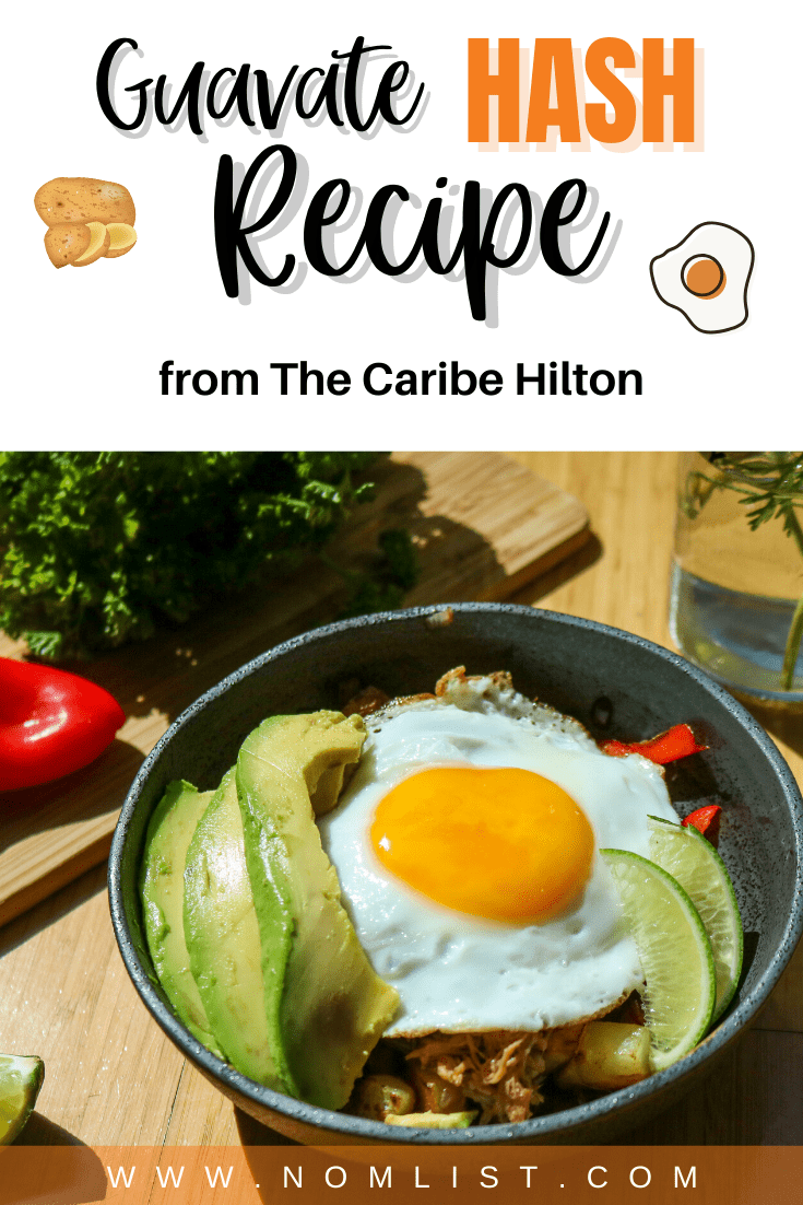 You haven't had a real breakfast yet until you've tried this delicious Guavate Hash recipe from The Caribe Hilton. Packed with delicious Puerto Rican ingredients, this breakfast hash recipes with pack a punch of sweet, salty, and savory in every bite. #guavatehash #hash #hasbrowns #breakfast #breakfastrecipes #recipes #hashrecipe #skillet
