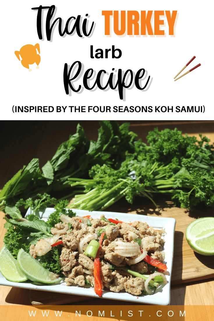 If you're looking to spice things up a bit for dinner but want an easy recipe that's quick and simple, you've come to the right place. This Thai Turkey Larb recipe inspired by the Four Seasons Resort Koh Samui is one of the most delicious healthy meals you can make. #thaifood #thairecipes #turkeyrecipes #groundturkey #groundturkeyrecipes #asianfood #thailand
